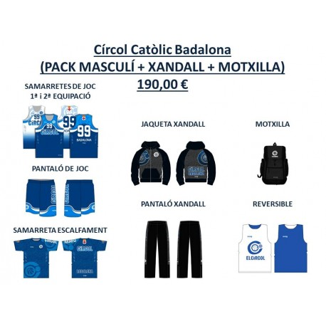 PACK BÀSIC MASCULÍ + XANDALL + MOTXILLA