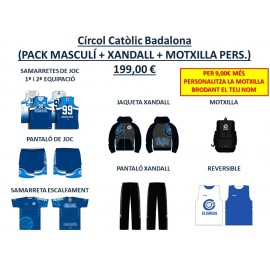 PACK BÀSIC MASCULÍ + XANDALL + MOTXILLA PERSONALITZADA